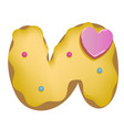 sweet donut font letter u cartoon vector image vector image
