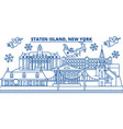 usa new york staten island winter city skyline vector image vector image