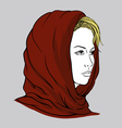 Young woman with knitted scarf vector image vector image