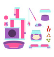 a set of accessories for a cat vector image