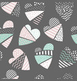 abstract memphis seamless pattern with hearts vector image