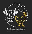 animal welfare care chalk concept icon voluntary vector image vector image