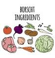 borscht ingredients russian soup food vector image