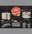 cake menu hand drawn bakery product sweet food vector image vector image