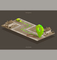 car navigation on isometric city map vector image