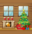 christmas decoration in wooden house vector image vector image