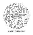 circle with birthday symbols in line style basic vector image