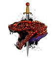 color dragon sword logo design vector image