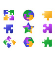 color jigsaw puzzle icon vector image
