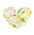 colorful flowers in heart vector image