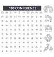 conference editable line icons 100 set vector image vector image