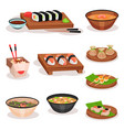 flat set of different asian dishes sushi vector image