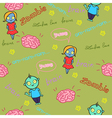 Funny seamless pattern with zombies and brain vector image