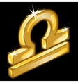Gold figure zodiac sign Libra on black background vector image