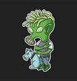 green alien funky vector image vector image