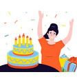 happy birthday - modern colorful flat design style vector image