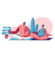 happy couple sitting in lotus pose in gym vector image vector image