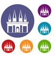 kingdom palace icons set vector image vector image
