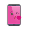 kissing mobile phone isolated emoticon vector image