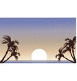 Landscape palm and full moon silhouette vector image vector image