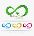 logo infinity with leaf vector image vector image