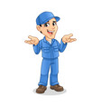 mechanic man with confused gesture sign vector image vector image