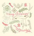 merry christmas floral hand drawn background vector image vector image