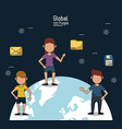 poster of global people with dark blue background vector image vector image
