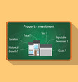 property investment checklist on the greenboard vector image