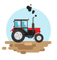 Red tractor a side view vector image