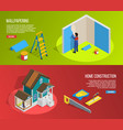 renovation isometric banners set vector image vector image