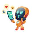 robot or chatbot having love conversation online vector image vector image