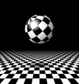 Room with checkered floor and ball vector image