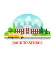 school building and bus vector image vector image