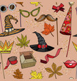 seamless pattern with autumn party accessories set vector image vector image
