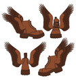 set brown boots with wings vector image