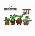 set of cactus plants in garden vector image vector image