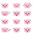 set of cute piglet emoticons vector image vector image