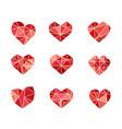 set polygonal heart symbols icons vector image vector image