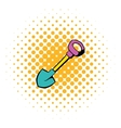 Shovel icon comics style vector image vector image