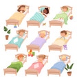 sleeping kindergarten tired boys and girls little vector image