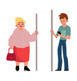 subway passengers - plump woman housewife and vector image vector image