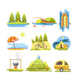 summer activities colorful flat poster vector image