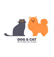 vet clinic cartoon cat and dog pet animals care vector image