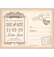 Vintage postcard save the date background vector image vector image