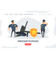 welcome to work landing page template policemen vector image