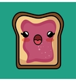 bread jam kawaii toast design vector image