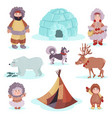people in traditional eskimos costume and arctic vector image