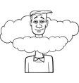 head in the clouds saying cartoon vector image