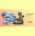 3d concept online video editing service motion vector image vector image